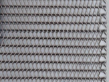 A piece of conveyor belt mesh with round spiral wires and straight round wires.