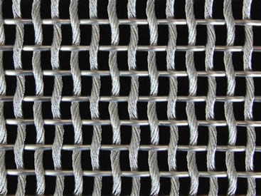 A piece of cable metal mesh with round weft wires and cable steel warp wires.