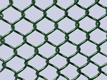 A piece of green metal coil drapery on the gray background.