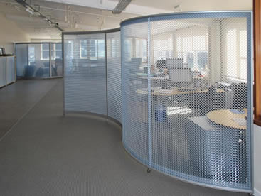 Metal ring mesh is installed on the frame to divide the office area.